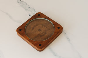 Spinning Base - Black Walnut Wood with Glass Concave Lens - Bruce Charles Designs