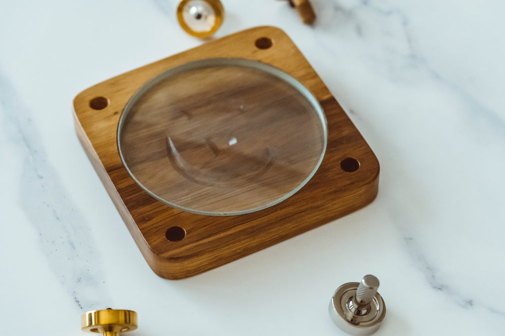 Spinning Base - Teak Wood with Glass Concave Lens - Bruce Charles Designs