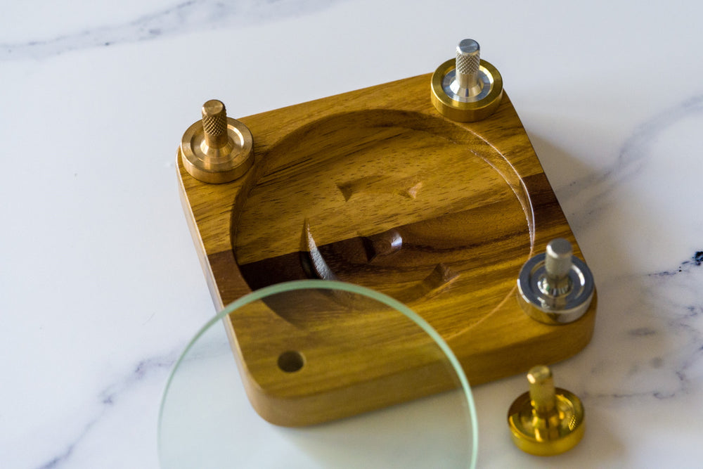 All Four Schulte Tops + Teak Spin Base Multi-pack - Bruce Charles Designs