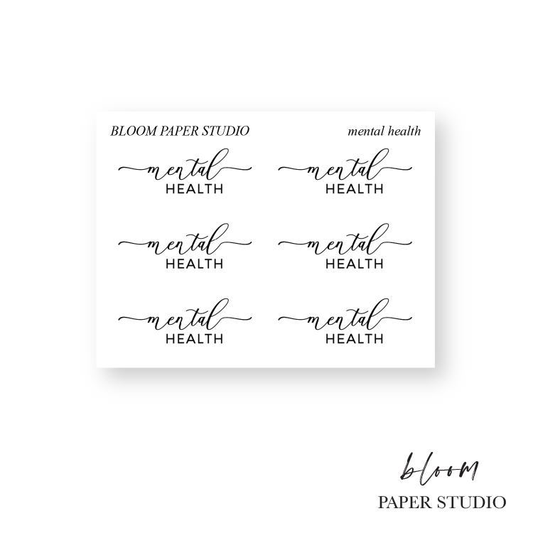 Foiled Mental Health Script Stickers S013