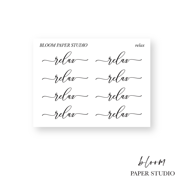 Foiled Relax Script Stickers S020