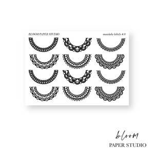 Foiled Lace Mandala Label Planner Stickers 4.0