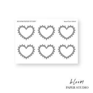 Foiled Heart Lace Label Stickers
