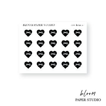 Foiled Full Heart Bow Icon Stickers