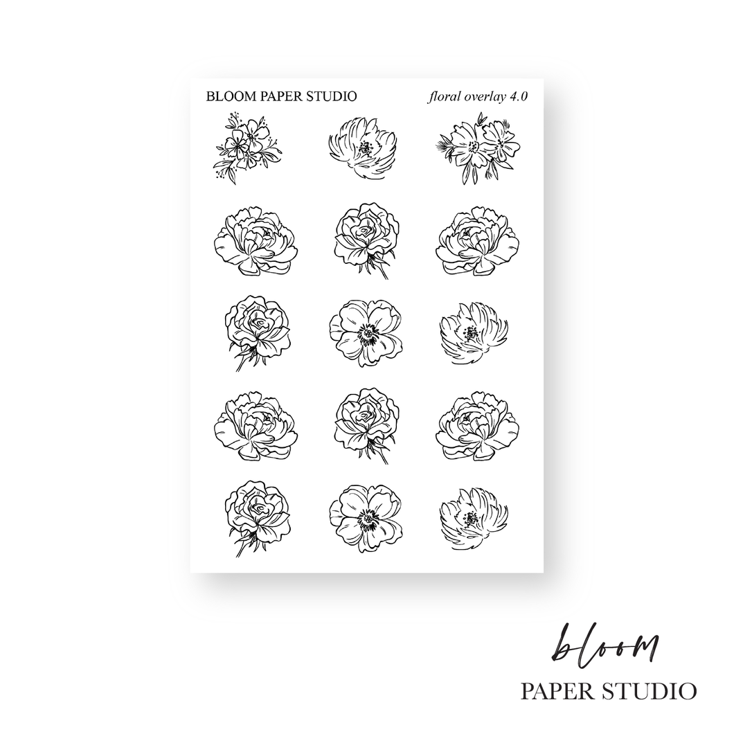 Foiled Floral Overlay Planner Stickers 4.0