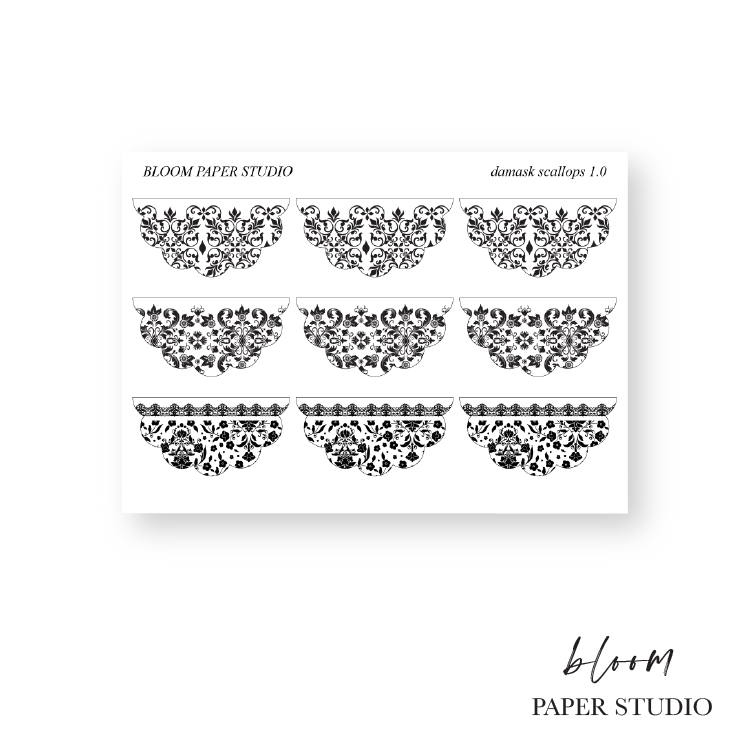 Foiled Damask Scallop Stickers 1.0