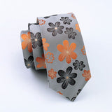 Gray Necktie with Orange & Dark Gray Flowers