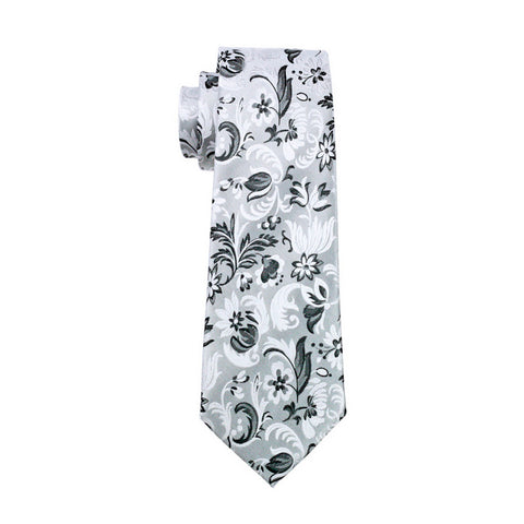 Gray with Black and White Flower Necktie