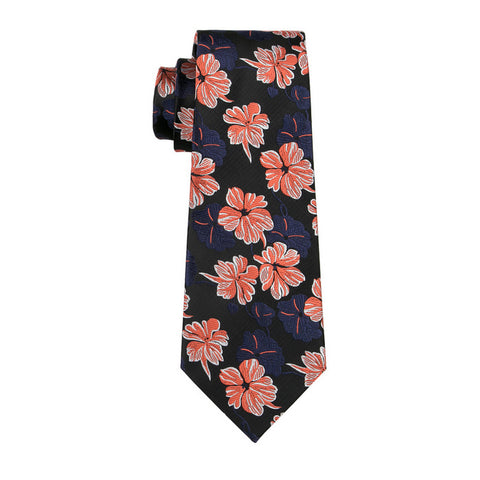 Blue & Orange Flower Necktie