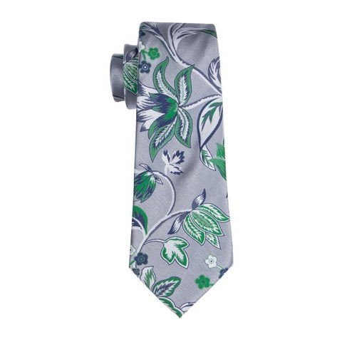 Silver with Blue & Green Flower Necktie