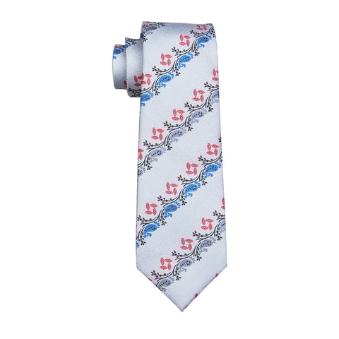 White, Blue & Red Pattern Necktie
