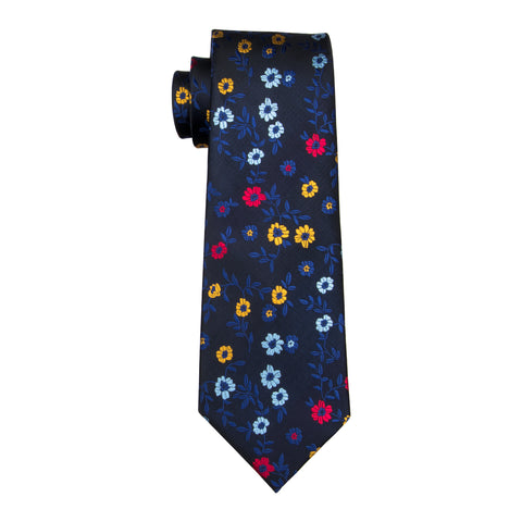 Navy with Blue, Yellow & Red Flower Necktie