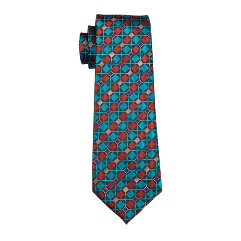Teal & Red Checkered Necktie