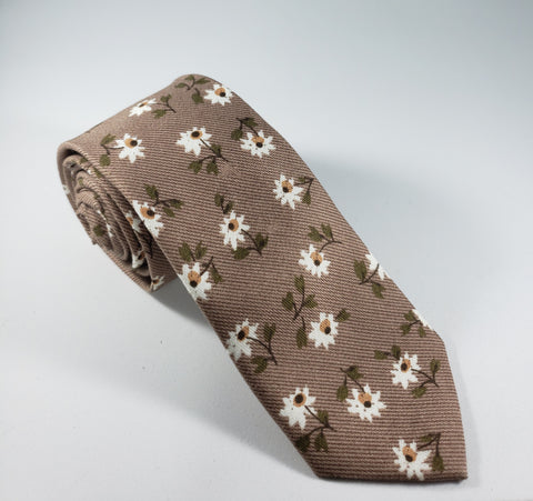 Brown with Daisies Skinny Necktie