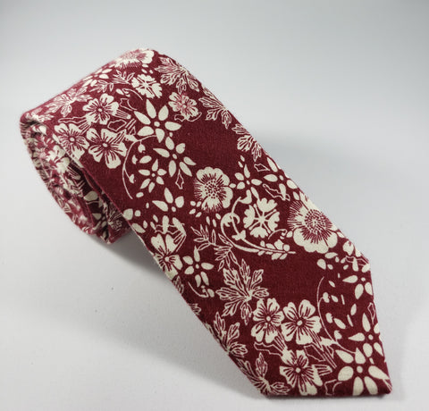 Dark Red Floral Skinny Necktie