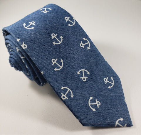 Blue & White Anchors Skinny Necktie
