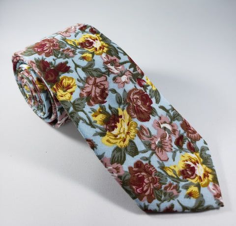 Light Blue Floral Skinny Necktie