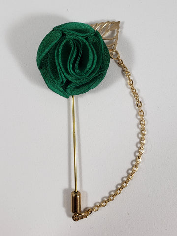 Green with Gold Leaf & Chain Lapel Pin