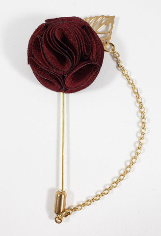 Maroon with Gold Leaf & Chain Lapel Pin