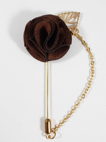 Brown with Gold Leaf & Chain Lapel Pin