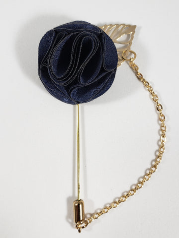Navy with Gold Leaf & Chain Lapel Pin