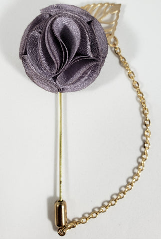 Gray with Gold Leaf & Chain Lapel Pin