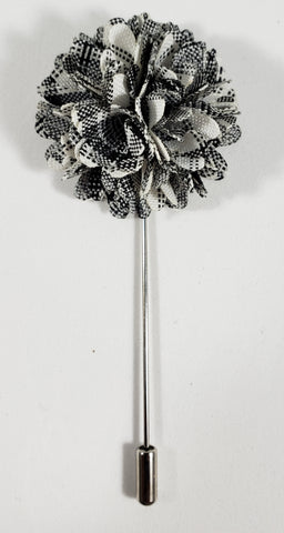 Black & White Textured Lapel Pin