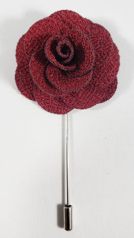 Maroon Flower Lapel Pin