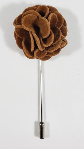 Brown Velvet Flower Lapel Pin