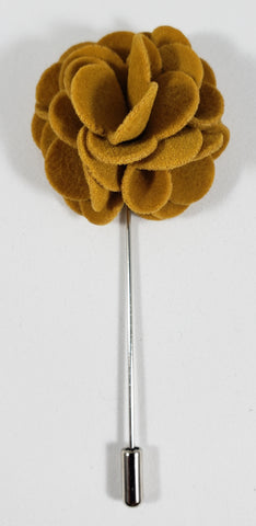 Mustard Yellow Velvet Flower Lapel Pin