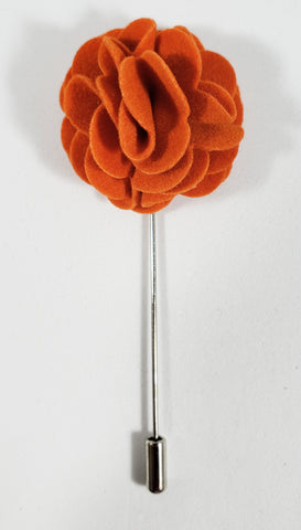 Orange Velvet Flower Lapel Pin