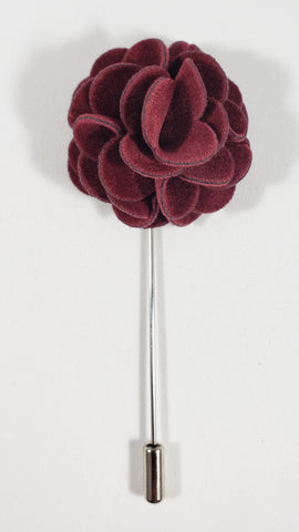 Maroon Velvet Flower Lapel Pin