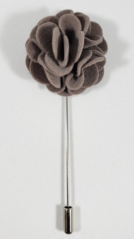 Gray Velvet Flower Lapel Pin
