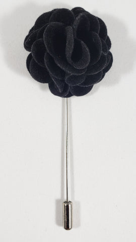 Black Velvet Flower Lapel Pin