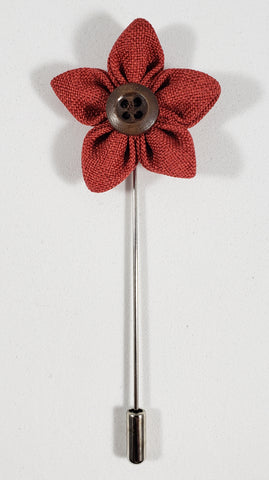 Red Flower with Button Lapel Pin