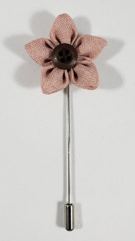 Blush Flower with Button Lapel Pin