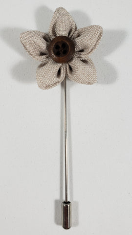 Tan Flower with Button Lapel Pin