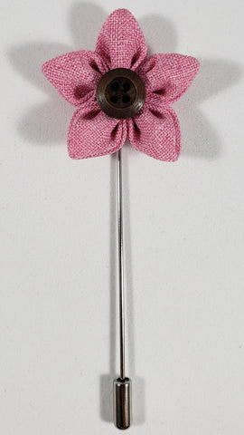 Pink Flower with Button Lapel Pin