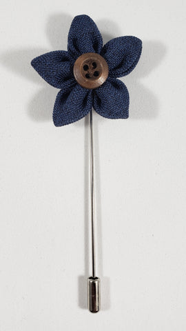 Navy Flower with Button Lapel Pin
