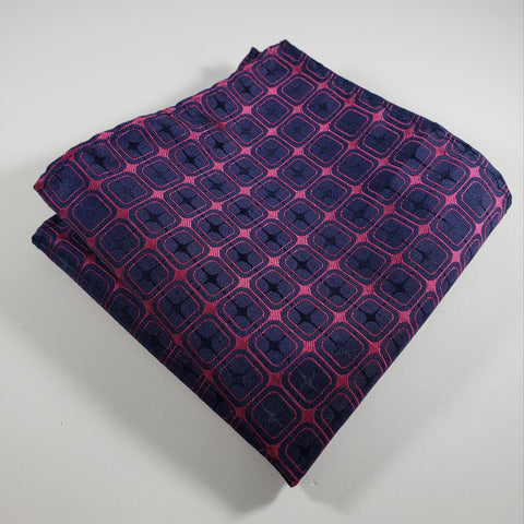 Navy & Hot Pink Pocket Square