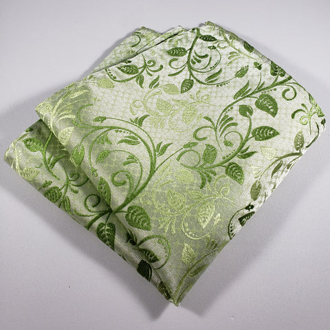 Light Green with Green Leaf Pocket Square