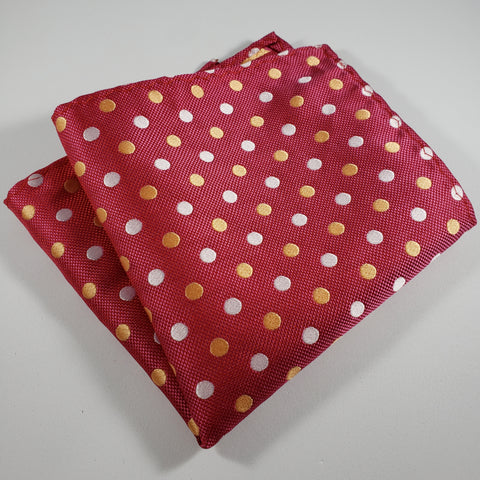 Red with Yellow & White Polka Dot Pocket Square