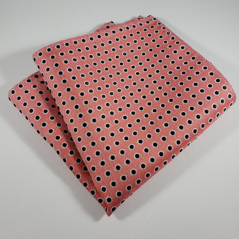 Salmon & Black Polka Dot Pocket Square
