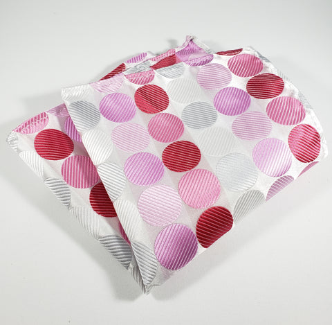 Gray & Pink Polka Dot Pocket Square