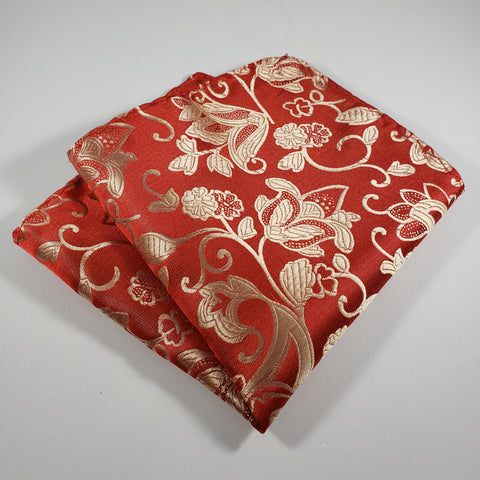 Red with Tan Leaf Pocket Square