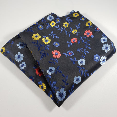 Navy with Blue, Yellow & Red Flower Pocket Square