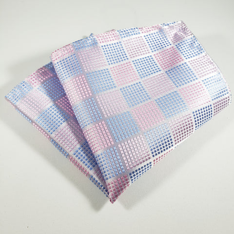Pink & Blue Checkered Pocket Square