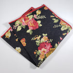 Black Floral Pocket Square