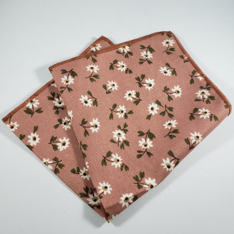 Blush with Daisies Pocket Square