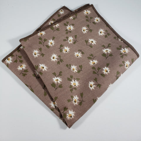 Brown with Daisies Pocket Square